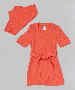 Orange Ribbed Sweater Dress & Tube Scarf