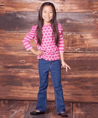 Pink Polka Dot Tee & Bootcut Jeans