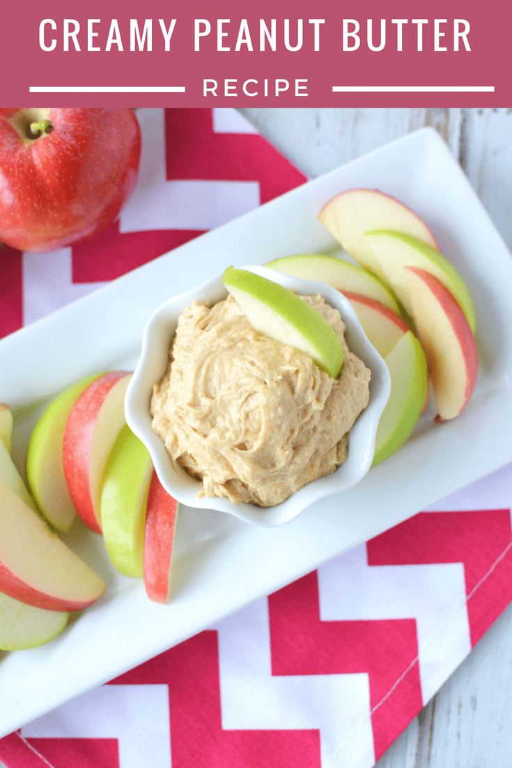 Creamy Peanut Butter Dip with Apples as Healthier Snack for kids