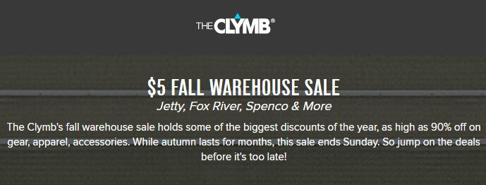 Big Warehouse Sale On The Clymb – $5 Sale!