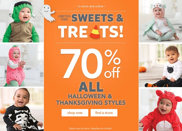 Carter's 70% off All Halloween & Thanksgiving Styles!