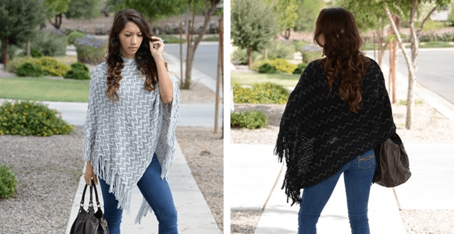 FASHIONABLE CHEVRON PRINT KNITTED PONCHO