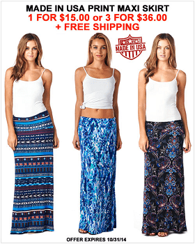 Made In USA Print Maxi Skirt