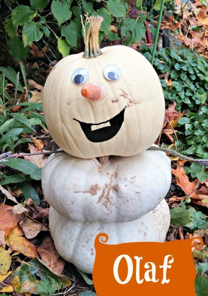 Make An Olaf Snowman (from Disneys Frozen) Using White Pumpkins!