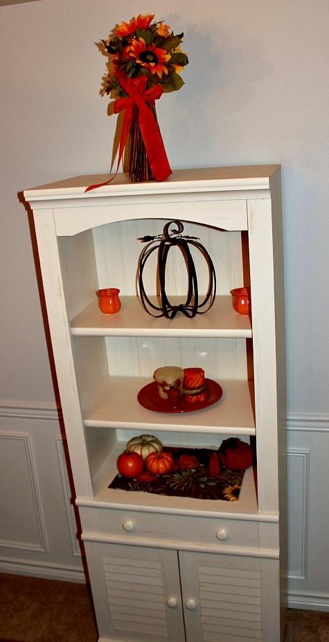 Sauder Library Shelf with Harvest Decor