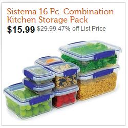Sistema 1888 Klip It - 16-Piece Clear Combination Kitchen Storage Pack