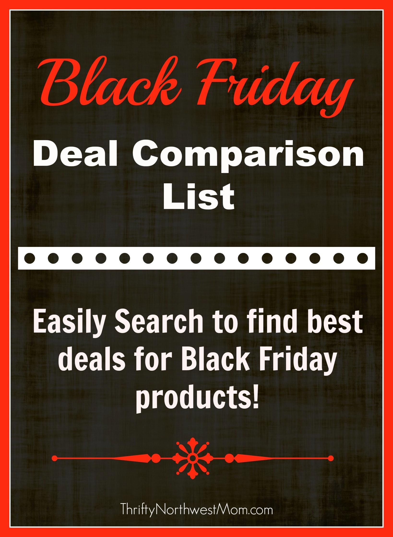 Black Friday Deal Comparison list