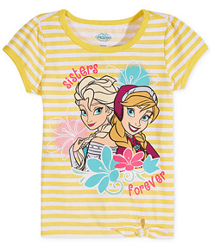 Frozen Little Girls' Elsa & Anna Tie-Front Graphic Tee