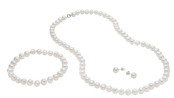 Genuine Freshwater Pearl Earring, Necklace, & Bracelet 3-PC Sets