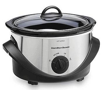 Hamilton Beach 4-Quart Black Stainless Steel Oval Slow Cooker