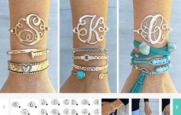 Monogram Initial Bangle Bracelets