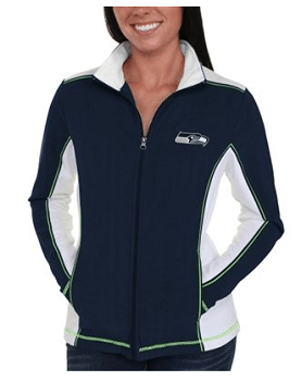 Seattle Seahawks Majestic Women's End Zone Rush Full Zip Fleece Sweatshirt - College Navy