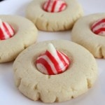 These Peppermint Kiss Cookies are so easy yet so festive & fun for a Christmas holiday party.