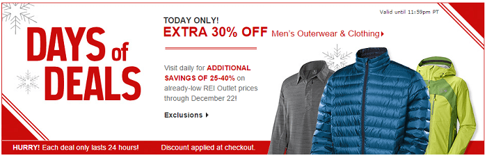 REI Men's Clothing Sale Extra 30% OFF (Today Only)