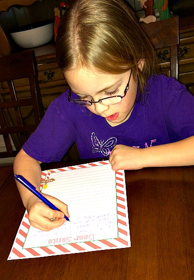 Writing letter to Santa with Free Printable
