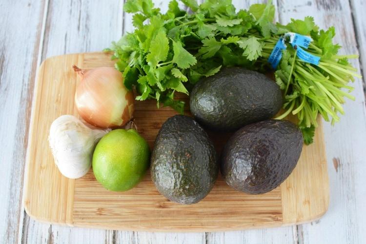 Ingredients for guacamole recipe