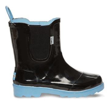 BLACK BLUE TINY TOMS RAIN BOOTS