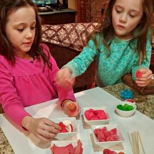 Candy Kabob Kids Making Them