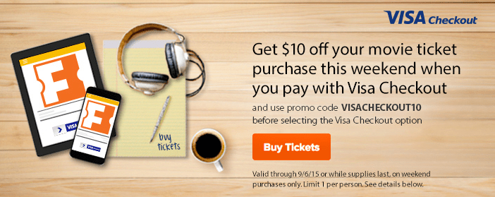 Fandango Movie Tickets - $10 OFF When You Pay With Visa Checkout