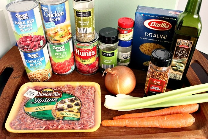 Ingredients for Copycat Pasta e Fagioli Soup