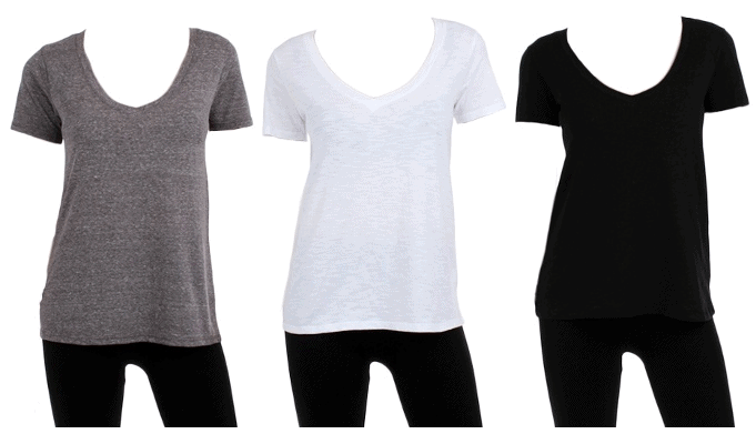 Groupon Deal 6-Pack of Women's Boutique-Style V-Neck Tees