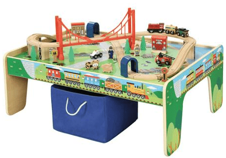 Wooden 50-Piece Train Set with Small Table $40.93!