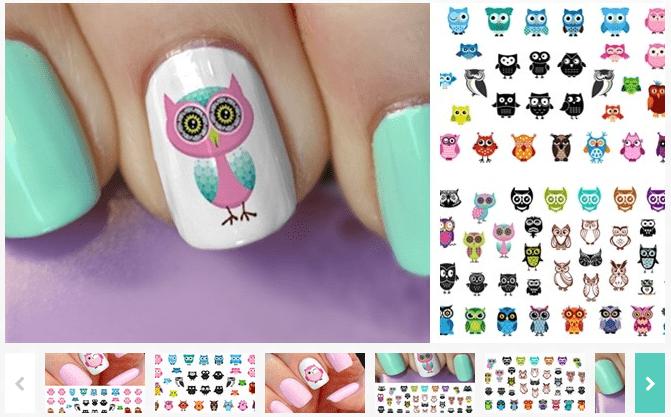 owl nail art decals