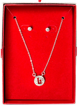 Crystal Initial Pendant Necklace and Stud Earrings Boxed Gift Set