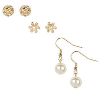 Pearl Cluster, Daisy and Pearl Stud and Drop Earrings Set of 3