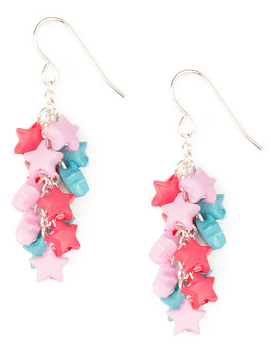 Pink, Lavender and Blue Star Cluster Drop Earrings