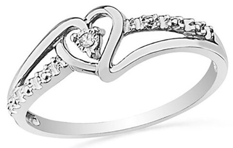 Sterling Silver Genuine Diamond Accent Heart Ring