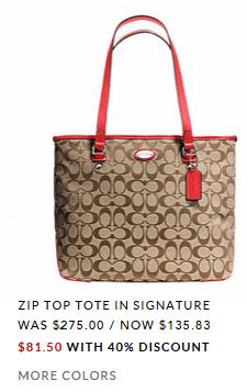 Coach Signature Zip Tote