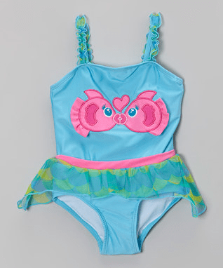 Blue Kissing Fish Skirted One-Piece - Infant & Toddler