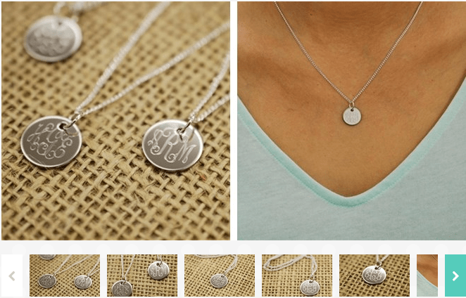 Personalized Engraved Monogram Charm Necklace