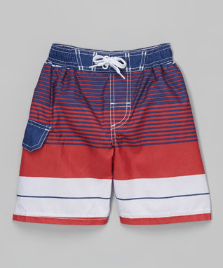 Red Stripe Boardshorts - Boys
