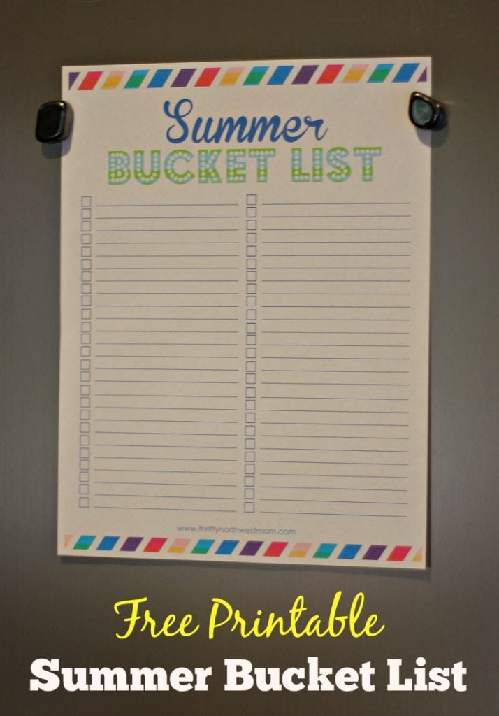 Summer Bucket List Activity + Free Printable