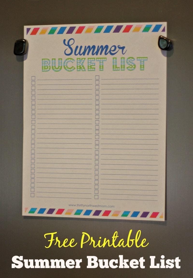 Summer Bucket List Activity + Free Printable