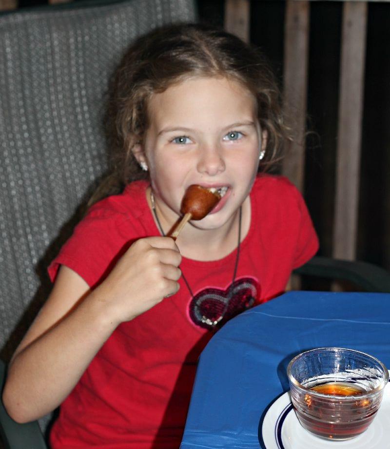 Enjoying Jimmy Dean Pancakes & Sausage on a Stick