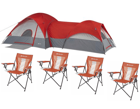 Ozark Trail ConnecTENT 8-Person 2-Dome Tent with Bonus Set of 4 Chairs $128.98