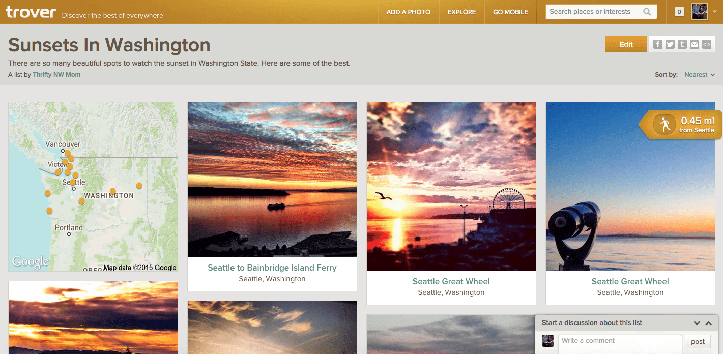 Trover List - Sunsets in Washington