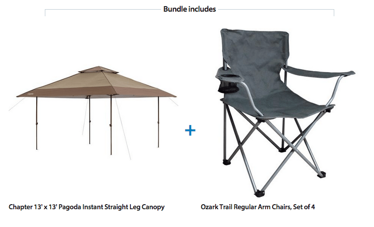 13′ by 13 ' Pagoda Instant Canopy with 4 Chairs – $129!
