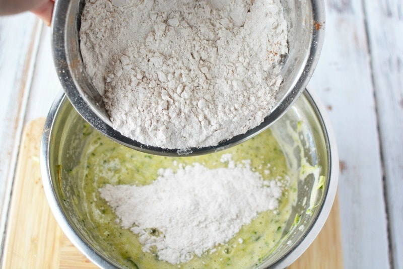 Adding ingredients together for Zucchini Bread