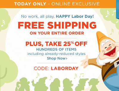 Disney Store Sale: 25% OFF Select Items Plus FREE Shipping (Today Only)