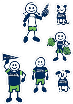 NFL Seattle Seahawks Spirit Family Window Decals