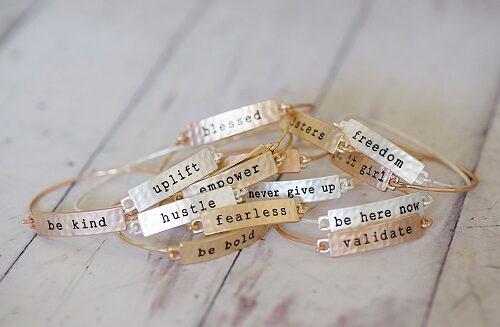 Stamped Sayings Bar Bracelets $6.99!