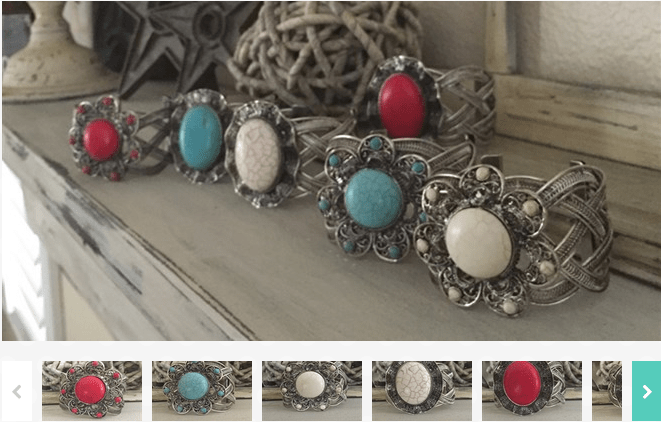 Vintage Rubbed Silver Stone Bangle $5.99!