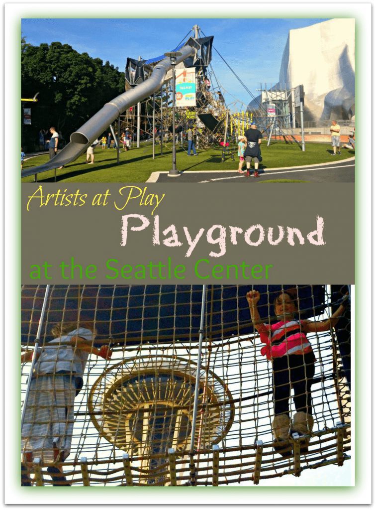 The Artists at Play playground at the Seattle Center is a fun stop for kids with the Space Needle in the distance.