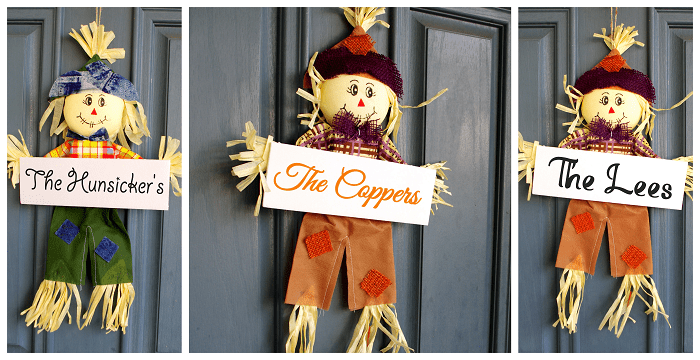Autumn Personalized Scarecrows Door Hanger
