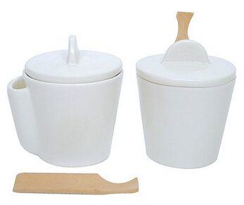 Ceramic Canister & Wood Scoop