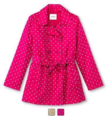 Girls' Polka Dot Belted Trench Coat $12.48 (Reg $24.99)